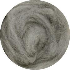 Carded Roving Wool Felting Spinning Craft Hand Wet Needle Felt- Dim Silver Grey