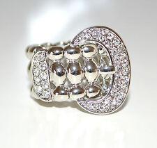 ANELLO donna ARGENTO strass ORO cerimonia CRISTALLI elegante elastico ring 26