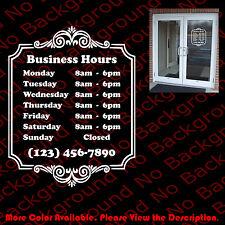 Custom Store Shop BUSINESS HOURS Vinyl Window Decal Sticker Sign Door BS010