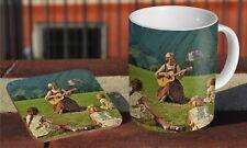 The Sound of Music Julie Andrews Hill Ceramic Coffee MUG + Wooden Coaster Set