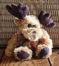 "Caramel Moose 8"" Stuffed Animal Brown Soft Plush Toy Collectible Ribbon"
