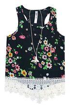 Knit Works Floral Noir Débardeur Dentelle W/Collier T-Shirt Fille M,L,XL