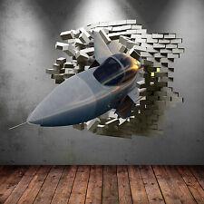 Army Fighter Jet Plane cracked Bricks 3D wall sticker art mural WSD237