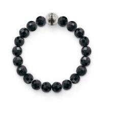 A1082 New Genuine Sterling Silver Black Obsidian Beaded CZ Bracelet £89