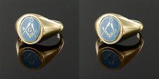 9 ct Oro amarillo Escuadra y brújula Reversible Masónico anillo- Azul Claro
