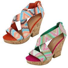 *SALE* Spot On F10029 Ladies Multi Platform Heeled Sandals