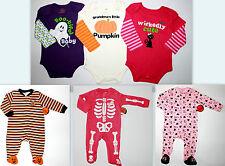 HALLOWEEN Girls Pajamas Pjs  Bodysuit Skeletons Ghost Cats Pumpkin 3-6 6-9 12 18