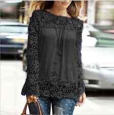 Nouveau femme broderie dentelle mousseline haut à manches longues chemise chemisier noir