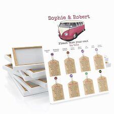 Personalizado VW Camper Mesa De Boda De Etiqueta De Equipaje/plan de asientos grande A1 A2 A3