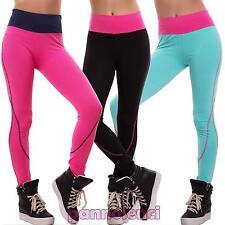 Pantaloni donna leggings fitness sport elastici vita alta palestra nuovi F9372