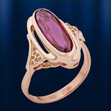 Rose Rotgold 585 RING mit ovalem Korund Rubin Neu Vintage style