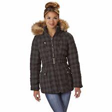 Rocawear Women's Tweed Puffer Jacket Removable Faux Fur Trimmed Hood NEW