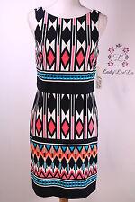Eliza J Women's Blue Geometric Popover Dress EJ6M1830 Navy Size 4 NWT