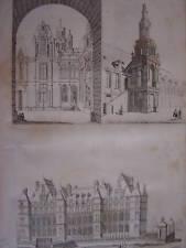 Gravure Hôtel ville CAEN  Mon. ROUEN  Château de Madrid