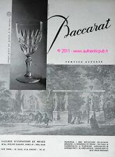 PUBLICITE ANCIENNE DE 1957 BACCARAT CRISTAL SERVICE AUTEUIL VERRE PUB FRENCH AD