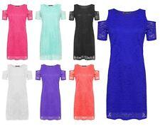 Womens Plus Cut Out Cold Shoulder Dress Floral Lace Lined Short Sleeve UK 14-28