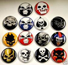 """14 SKULL Buttons Pins Badges 1"""" Skulls Horror Goth Dark"""