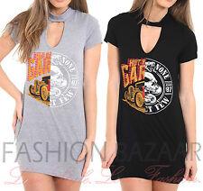Womans 50/50 Car Skull Longline T Shirt Mini Party Dress Vintage Rock Choker Top