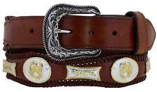 Mens Cognac Concho Western Belt Real Leather Cowboy Braided Dress Silver Buckle