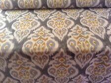 Ankara Ikat  Linen Grey/Saffron Cotton Curtain/Craft Fabric