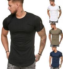 Oversize Herren Vintage T-Shirt Basic Shirt Round Neck Zipper