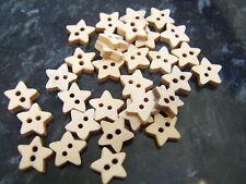 20 Plain wooden star shaped buttons 11mm