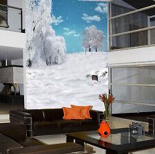 Papel Pintado Mural De Vellón Blanco Nieve Árboles 124 Paisaje Fondo De Pantalla