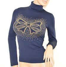 MAGLIETTA donna BLU manica lunga collo alto maglione sottogiacca felpata oro H2