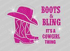 Boots & Bling Cowgirl Thing - Bling Iron-on Glitter Vinyl & Rhinestone Transfer