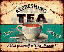 RETRO METAL PLAQUE :REFRESHING TEA sign/ad