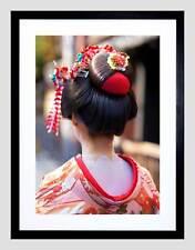 Muchacha Geisha Japonesa Cabello Mujer Asiática Imagen de Impresión Arte Enmarcado Negro B12X9083