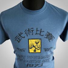 Operación Dragón torneo de Hans Película Retro Camiseta Bruce Lee MMA Azul