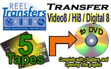 REEL TRANSFERS - Convert Video8/Hi8/Digital8  to DVD    FIVE TAPE SPECIAL!