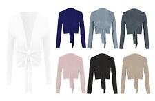Damen Einfarbig Gebunden Knoten Bolero Schulterjacke Bauchfreies Top Wrap