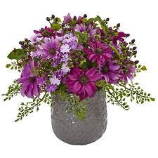 Daisy Bush in Gray Decorative Vase