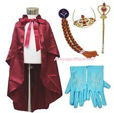 Princess Anna Crown Satin Cape Rhinestone Snowflake Glove Braid Clip Costume Set