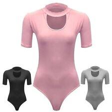 New Womens Key Hole High Neck Leotard Bodysuit 8-14
