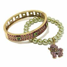 HEIDI DAUS 2pc Set Bracelets Charm Poodle Dog Candy Cane Christmas Tree Gift Box