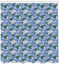 Oriental Garden Pattern Shower Curtain Fabric Decor Set with Hooks 4 Sizes