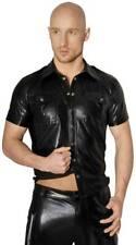 S-Noir Handmade - Scharfes glänzendes Wetlook Shirt mit Knöpfen schwarz - S-3XL