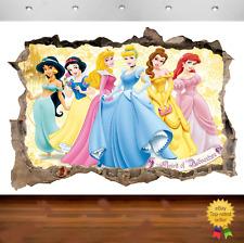 Disney Princess Fairies Belle 3d Smashed Wall View Sticker Poster Vinyl Art 677