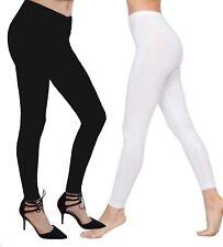 Womens Ladies Plain Cotton Full Length Leggings Black + White UK Size 6-18 New