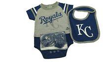 MLB Kansas City Royals Majestic Infant 3 Piece Creeper Bib & Boots Set New