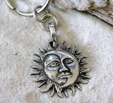 SUN MOON FACE SOLAR CELESTIAL Pewter KEYCHAIN Key Ring