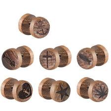 1 Fake Plug Ohrstecker Holz mit Motiven - Kreuz - Anker - Fisch - Stern - Hanf