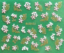 Rose Chrysanthemum Flower Golden or Silver Rhinestone 3D Nail Art Sticker BLE342