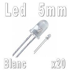 LED 5mm Blanc 16000mcd - Lot de 20, 40, 100 ou 250