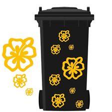 Mülltonnenaufkleber,Hibiskus Aufkleber,Mülleimer Sticker Blumendekoration