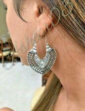 Aztec Turkish Gypsy Moroccan Heart Hoop Dangle Hoop Tribal Ethnic Earrings