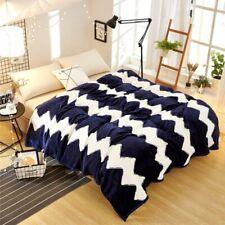 Summer Plaid Bedspread Fleece Printed Dark Blue Blanket Bedding Sofa Throws